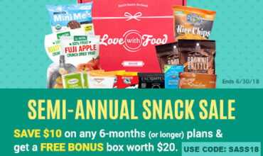 Love With Food Semi Annual Snack Sale – $10 Off Coupon + FREE Bonus Box Worth $20!