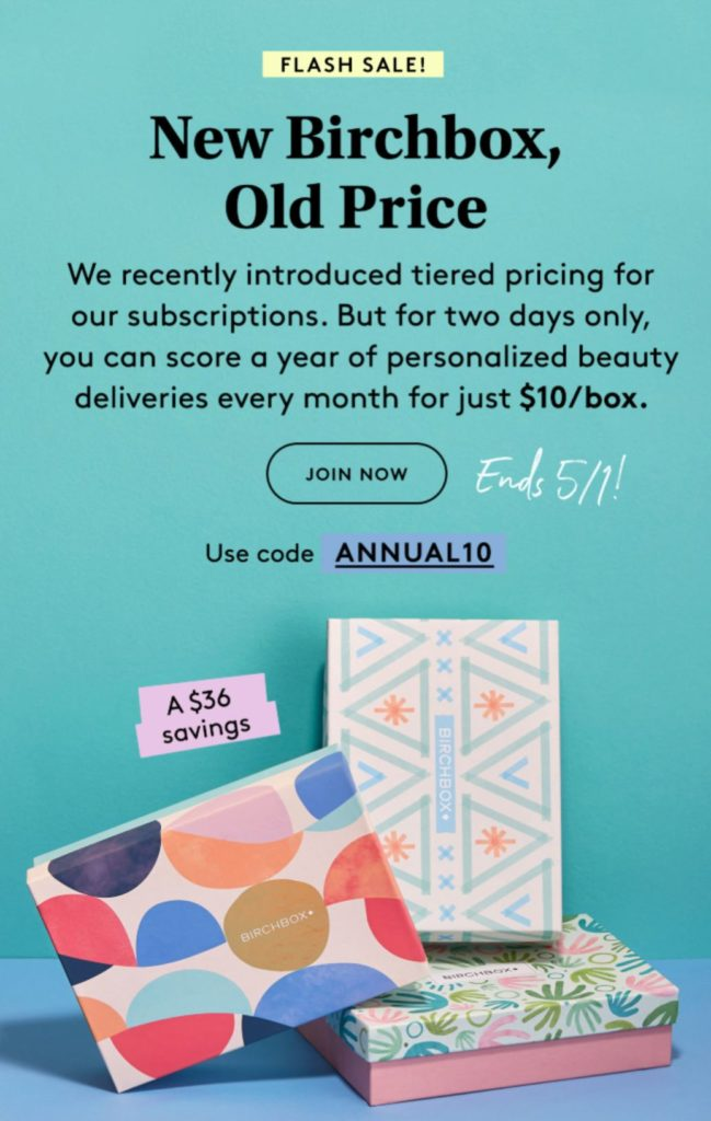 Birchbox Coupon - $10 Per Box Pricing with Annual